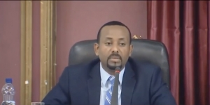 Prime Minister Abiy Ahmed speaking at a parliament session.