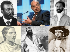 From the top left to right, Colonel Mengistu Haile Mariam, the late Prime Minster Meles Zenawi, and Emperor Haile Selassie. From the bottom left to right, Emperor Yohannes IV, General Ras Alula Engida, and Emperor Menelik II.
