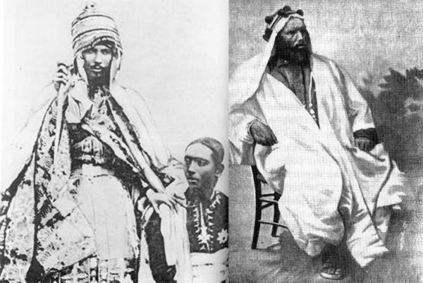 Emperor Yohannes IV (left) with his son and heir, Ras Araya Selassie Johannes, and General Ras Alula Engida (right). Historians credit the emperor and his general--both of whom were Tigrayans--with defending Ethiopian territory and Eritrea from Italian occupation.